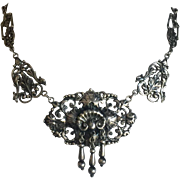 """Vintage Renaissance Revival Collar Necklace Pendant with Three Dangles Silver 16.5"""""""