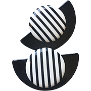 Oversized Runaway Black and White Clips Earrings Circa 1980's 58 mm Wide x 40 mm Long