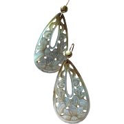 Elegant 14K Gold Carved Mother of Pearl Dangle Earrings 52 mm