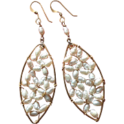 Beautiful Long Earrings with Freshwater Pearls 14K Gold Filled Long Dangles 70 mm