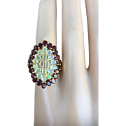 Picturesque Opal Garnet Gold Plated Silver Cocktail Ring Cluster 33 mm x 22 mm Resizable Size 11