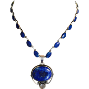Mid Century Lapis Sterling Silver Riviere Tennis Hand Made Necklace with Vintage Lapis Lazuli and Moonstone Pendant