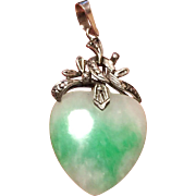Vintage 18K White Gold Moss in Snow Jade Jadeite Heart Pendant 46 mm 6.1 grams