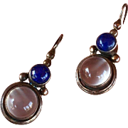 Vintage Moonstone Lapis Lazuli Sterling Silver Earrings 28 mm