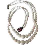 "Antique Queen Conch Shell Angel Skin Coral Beads Double Strand Necklace 21"" Long 85 grams"