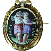 Antique French Hand Painted Two Cupids Children 18K Gold Frame Ribbons Seed Pearls Locket Pendant Brooch Pin SIGNED French Eagle Head