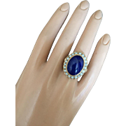 Impressive 25 mm Large LAPIS LAZULI Seed Pearls 14K Gold Cocktail Ring Size 7.5