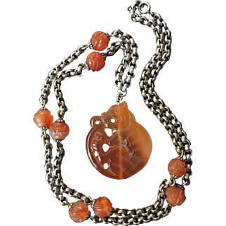 Art Deco Belcher Silver Chain Necklace with Antique Carved Carnelian Chinese Shou Beads and Carnelian Tiger Pendant