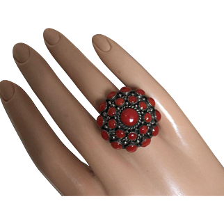 Spectacular Natural Undyed Mediterranean Red Coral on American Indian Sterling Silver Cocktail Ring 27 mm Size 6.5