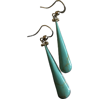 Vintage Turquoise Long Dangle Earrings Mexican 950 Silver Taxco TN-47 50 mm