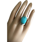 Large Modernist Blue American Turquoise Ring Hammered Sterling Silver Size 8 UNISEX