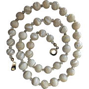 Vintage Mother of Pearl Beads Necklace with Fancy Clasp