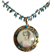 Victorian 14K Gold Turquoise Painted Young Girl Portrait Pendant Enhancer on Gold Filled Turquoise Necklace
