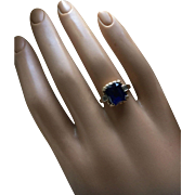 Charming and Authentic Art Deco 10K Gold Blue Spinel Diamonds Engagement Ring Size 6 Circa 1930's