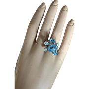 Gorgeous Blue Topaz Cocktail Ring 14K White Gold Size 8 Circa 1960's