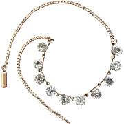 Late Georgian Early Victorian Gold Filled Riviere Choker Necklace with 10 Bright Impeccable 6.5 mm Paste Stones