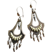 Beautiful Victorian Chandelier Earrings Two Tone Gold Filled Long Dangles 64 mm