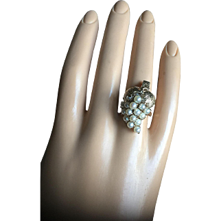 Antique 10K Gold Seed Pearls Grape Cluster Cocktail Ring Size 6 Bridal