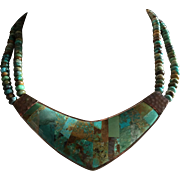 Vintage Two Strands Turquoise Collar Necklace with Beautiful Inlaid Turquoise Centerpiece