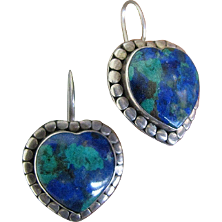 Beautiful and Showy Large Heart Shaped Chrysocolla Silver Drop Earrings 37 mm Long