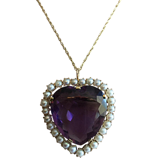 Large Art Deco 14K Gold Heart Cut Amethyst Solitaire Pendant Pin Brooch 35 mm x 30 mm with Akoya Pearls