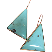 Mid Century Modernist 14K Gold Sky Blue Turquoise Earrings Unique Natural Pyrite Markings 36 mm 11.5 grams