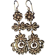 Antique Georgian Vermeil Filigree Girandole Chandelier Earrings with Faux Seed Pearls 70 mm