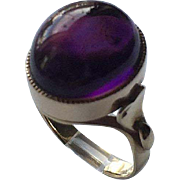 Antique Victorian Amethyst Cabochon 14K Gold Right Hand Ring with Heart Shoulders Size 5 3/4