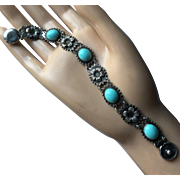 """Charming Art Deco Linked Floral Bracelet with Faux Persian Turquoise in Sterling Silver Length 7 1/8"""""""