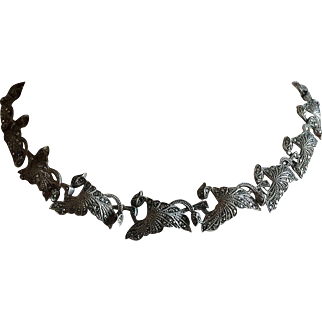 """Original German Art Deco Necklace Collar Sterling Silver with Tiny Marcasites 15.75"""" Long"""