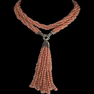 "Antique Victorian Mediterranean Salmon Coral Torsade Necklace with Tassel 32"" Long"