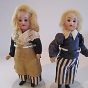 """Pair of 6 ¼"""" French Dolls, All Original"""