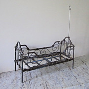 """Antique Iron Metal Canopy Doll Bed, 1880-1905, 12 1/2"""" L"""
