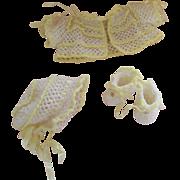 Yellow and white hand crocheted sweater set