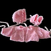 Hand crocheted pink sweater set