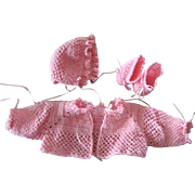Hand crocheted pink sweater set