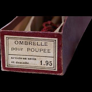 """Superb Parasol or """" Ombrelle Pour Poupee"""" in Original Box & Paper"""