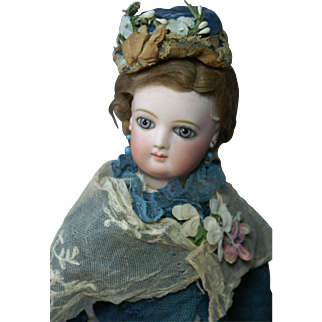 """Lovely Early 17.5 """" Jumeau Fashion with Huge Wrap Around Blue Eyes"""