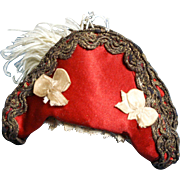 Little Bi-Corn Hat in Red Silk