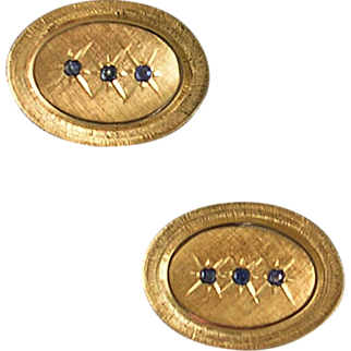 Late 20th century 14K yellow gold and sapphire cufflinks