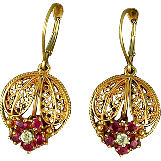 Late 20th C 14K yellow gold filigree ruby and diamond earrings