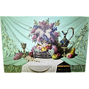 Still Life of Flowers and Fruit by Bela Balogh