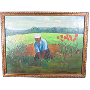 Signed Oil Painting on Canvas of a Young Lad Working in the Garden