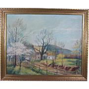 Signed and Dated Oil Painting on Board of a Country Home in the Spring Time