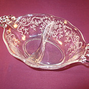 "Divided Mayonnaise Dish by Fostoria in the ""Corsage"" pattern"