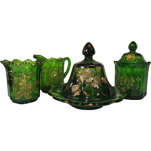 """Northwood Glass """"Gold Rose"""" 4 Piece Set in Emerald Green"""