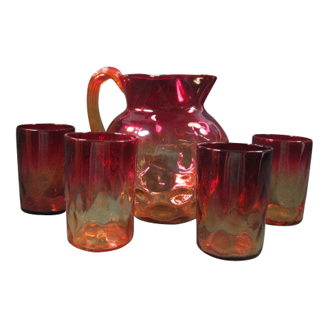 Amberina Coin Dot Pitcher with 4 Tumblers
