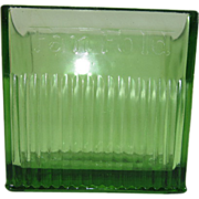 Green Depression Glass Fan Fold Napkin Holder by the Diana Manufacturing Co., Green Bay, Wis