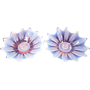 Fostoria Opalescent Pink Heirloom Lily Pad Candle Holders