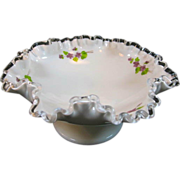 Fenton Silver Crest with Violets in the Snow Low Footed Comport